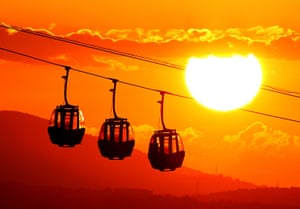 Samsun, TurkeyA view from Amisos hill as the sun sets behind the silhouettes of a cable car