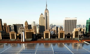 Solar       panels on a Rockefeller Center rooftop in midtown Manhattan in New       York.