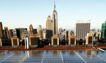 Solar panels on a Rockefeller Center rooftop in midtown Manhattan in New York.