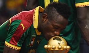 Bassogog kisses the winner's trophy after Cameroon beat Egypt 2-1 in the 2017 Africa Cup of Nations final, after which he was named the player of the tournament.