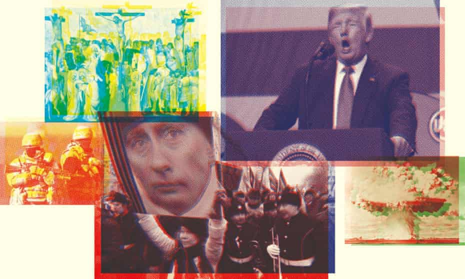 Power, nation and storytelling (clockwise from far left)… troops in Ukraine, the story of Christianity, Donald Trump, the atomic bomb,  protests against Vladimir Putin.