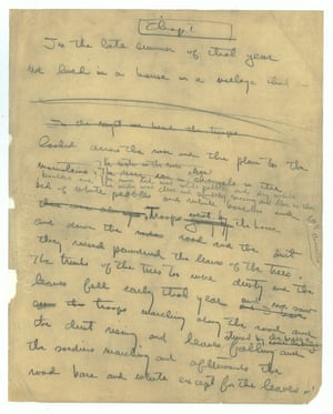 On display is the first page of his manuscript of A Farewell to Arms