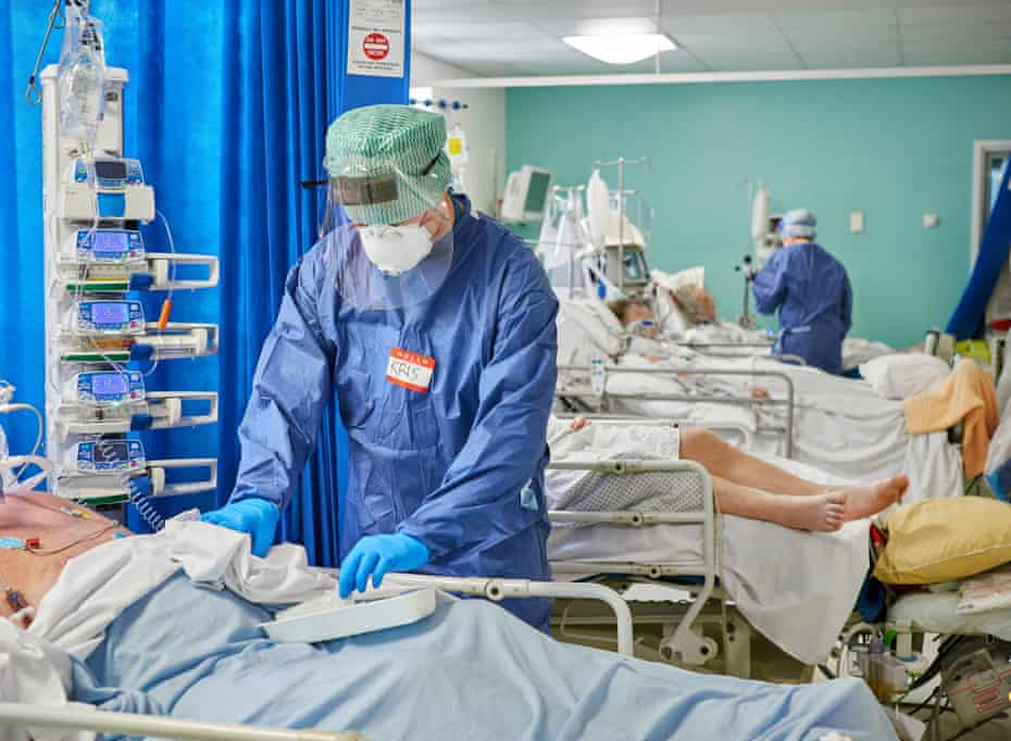 Beds between beds. At one point the Royal Gwent ICU was operaring at around 300% of its normal capcity necessitating placing beds in between the normal bed spaces to create room for ventilated patients.