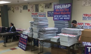 Piles of signs to boost Donald Trump's effort.