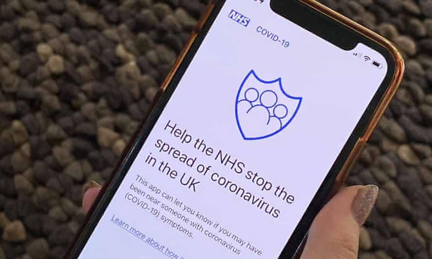 Phone showing NHS contact-tracing app