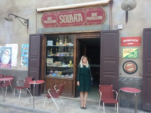 Kathryn Bromwich outside Bar Solara, part of the sprawling set constructed for the show outside the centre of Naples