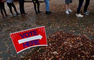 Voters wait in line in Atlanta, Georgia on 6 November 2018.