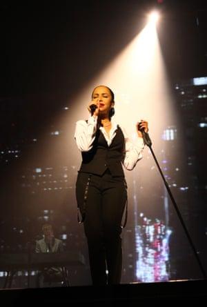 Sade performing live.