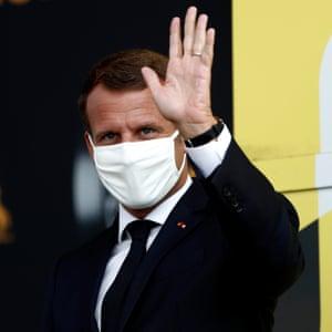 Emmanuel Macron President of France after Stage 17 from Grenoble to Méribel - Col de la Loze.
