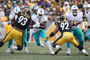 Harrison, No92, pictured here against the Dolphins, has never played fewer than 11 games in a season.