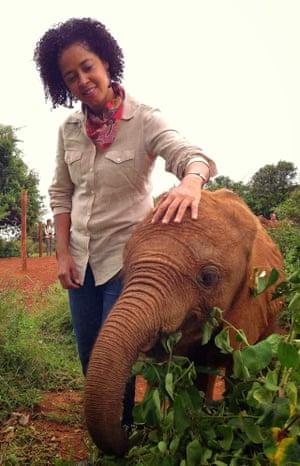 Kahumbu with a baby elephant