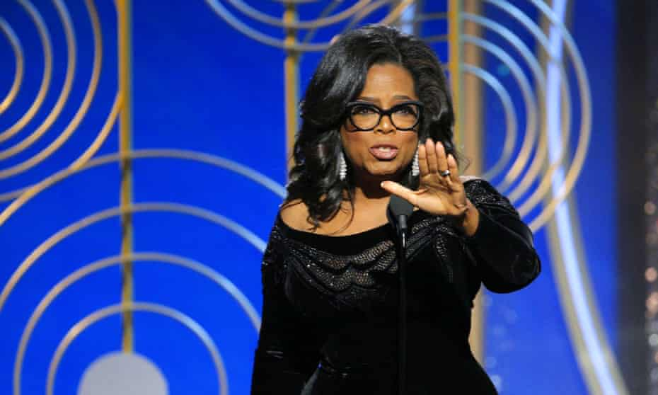 Oprah Winfrey speaks at the Golden Globes. Meryl Streep responded: 'She launched a rocket tonight. I want her to run for president. I don't think she had any intention [of declaring]. But now she doesn't have a choice.'