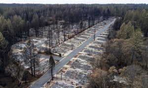 Homes leveled by the Camp fire at the Ridgewood Mobile Home Park retirement community in Paradise, California.