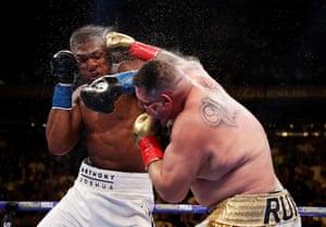 Ruiz stuns Joshua with a right hook.