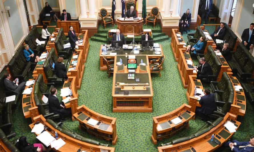 File photo of Queensland premier Annastacia Palaszczuk speaking in state parliament