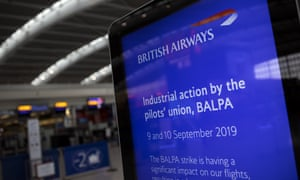British Airways pilots went on strike for two days in September for the first time in the airline's history