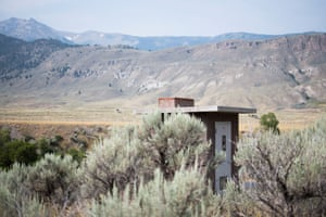The bathroom at McConnel River Access point in the Gallatin National Forest sits among sagebrush along the Yellowstone River.
