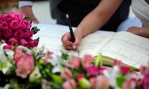wedding register signing