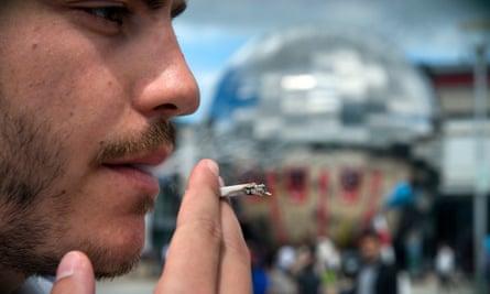 Smoker Peter Skirrow in Millennium Square, Bristol