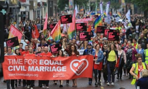 Thousands marched in Belfast in July in favour of same-sex marriage in Northern Ireland