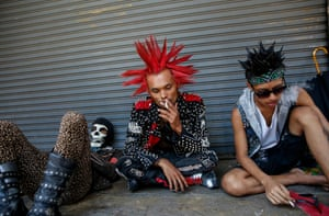 Punks take part in a gathering ahead of the Thingyan water festival.