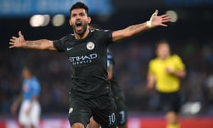 Sergio Aguero of Manchester City celebrates after scoring his record-breaking goal.