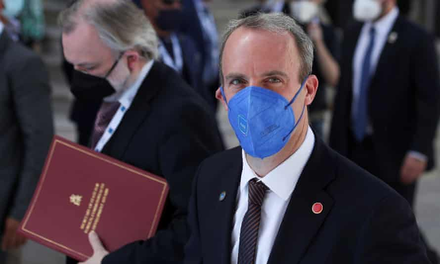 Dominic Raab arrives to attend the G20 meeting of foreign and development ministers in Matera, Italy