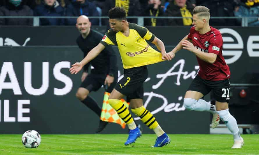 Jadon Sancho has been hard to stop by legal means in the Bundesliga this season.