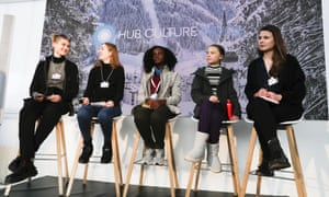Greta Thunberg and other young climate activists at Davos last week.