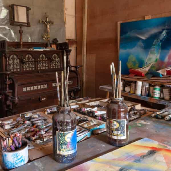 Sidney Nolan's studio at Rodd Estate, UK.