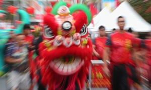 Lion dancers perform