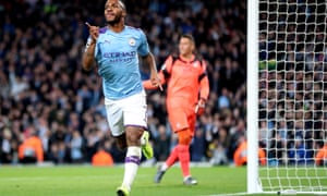 Raheem Sterling scored a hat-trick in 11 minutes as Manchester City cantered to a 5-1 win.