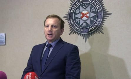 DCI Daniel Stoten of Essex police at a press conference in Belfast.