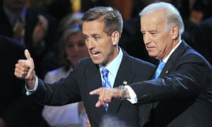 Joe Biden and his son Beau acknowledge the crowd during the Democratic National Convention in 2008.