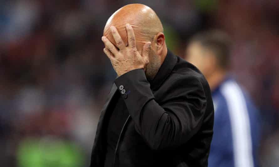 Jorge Sampaoli shows the strain during the defeat to Croatia