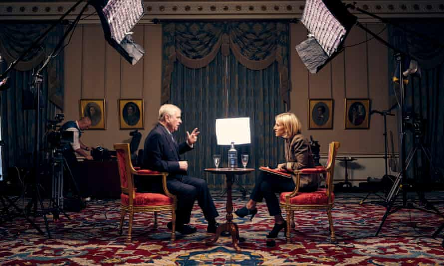 Emily Maitlis interviews Prince Andrew for BBC Newsnight.