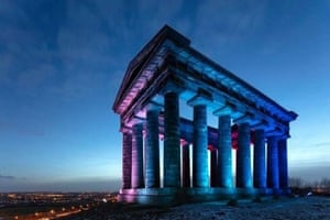 Sunderland's 19th century Penshaw monument lit up in blue to celebrate 73 years of the NHS.