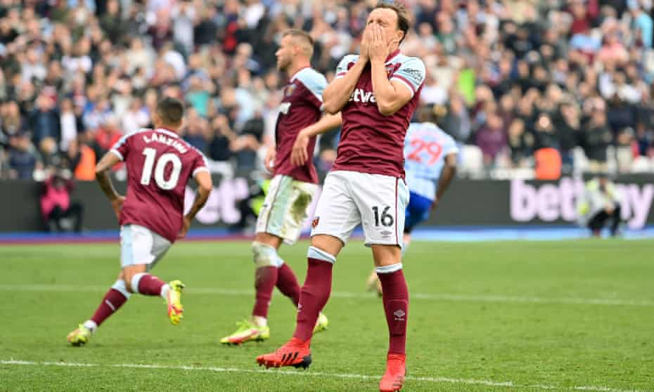 Mark Noble reacts to having his penalty saved