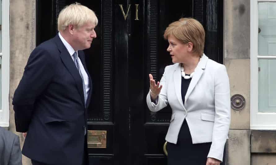 Boris Johnson and Nicola Sturgeon outside Bute House, Edinburgh, in 2019.