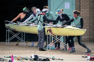 Cambridgeshire, UK: Cambridge University boat club crews train on the River Great Ouse near Ely for the first time, as the boats return to training on the water from Sunday under the strict Covid guidelines for elite sport