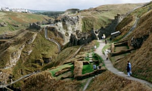 People visit the ruins of Tintagel Castle in Cornwall