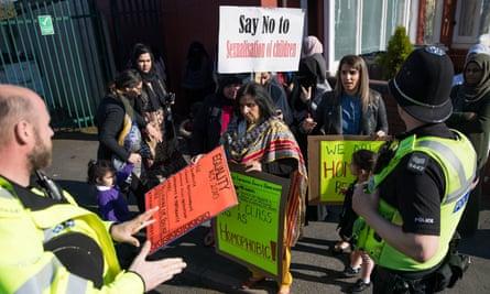 Protests this week at Anderton Park primary school in Birmingham.
