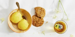 Thomasina Miers' mango sorbet with toasted coconut biscuits.