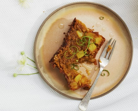 Thomasina Miers' pineapple and coconut tea loaf with lime syrup.