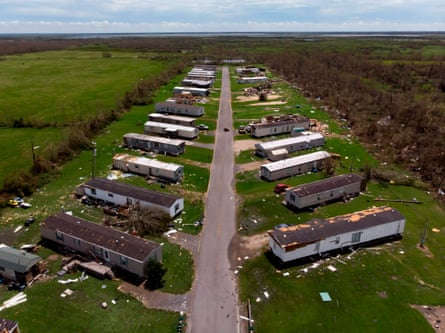 Homes damaged by Hurricane Laura on Thursday in Grand Lake, Louisiana.