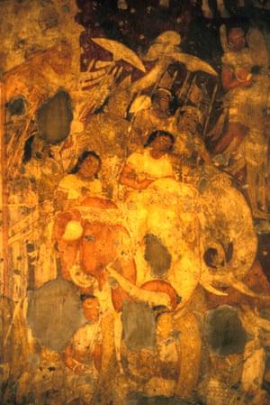 March royal army Ajanta caves India.