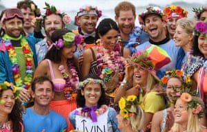 Prince Harry and his wife Meghan, Duchess of Sussex, at Bondi beach