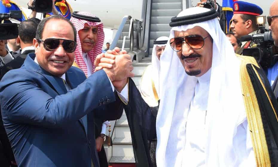 Abdel Fatah al-Sisi shakes hands with Saudi Arabia's King Salman, Egypt, April 2016.