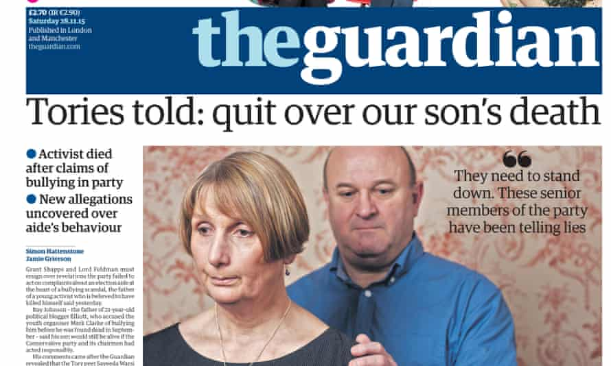 Guardian front page on Saturday 28 November 2015