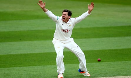 Ansari appeals unsuccessfully during the County Championship Division One match between Surrey and Lancashire at The Oval in April. It was to be his last game as a professional cricketer.